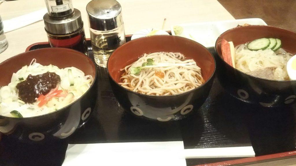 盛岡駅 南部いろり庵 もりおか三大麺セット じゃじゃ麺 わんこそば 冷麺