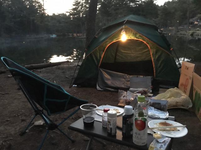 おおぐて湖キャンプ場の夜の光景