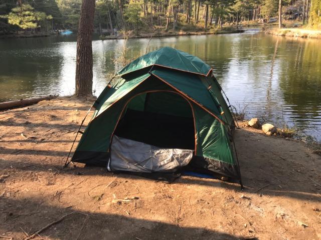 おおぐて湖キャンプ場のしらさぎ荘のキャンプの様子